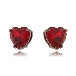 Brinco de Coração Rubi Vermelho 10 mm Semijoia em Ródio Negro