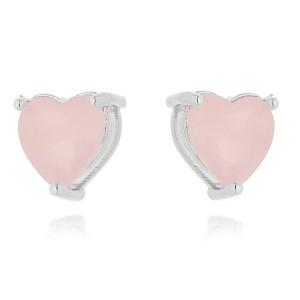 Brinco Delicado Coração Quartzo Rosa Leitoso Semijoia em Ródio Branco