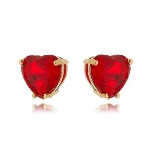 Brinco Dourado Coração Vermelho de Zircônia 10 mm Semijoia em Ouro 18K