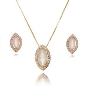 Brinco e Colar Quartzo Rosa Navete e Zircônia Cristal Ouro Rosé Semijoia