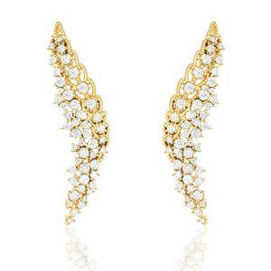 Ear Cuff Asa Luxo Semijoia em Ouro 18K com Zircônia Branca