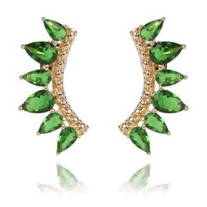 Brinco Ear Cuff de Zircônia Esmeralda Semijoia Ouro 18K
