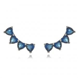 Brinco Ear Cuff Prata Mini Corações Azul Semijoia em Ródio Branco