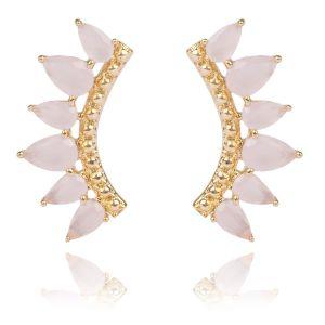Brinco Ear Cuff de Zircônia Quartzo Rosa Leitoso Semijoia Ouro 18K