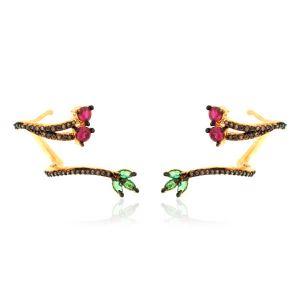 Brinco Ear Cuff Ramo Semijoia em Ouro 18K com Zircônias Brown, Rubi e Verde