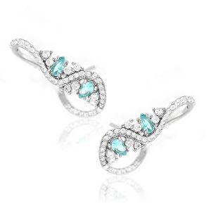 Brinco Ear Cuff Ramo Semijoia em Ródio Branco com Zircônia Branca e Gotas de Cristal Turmalina Azul
