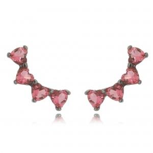 Brinco Ear Cuff Rubi Rosa Mini de Zircônia Corações Semijoia Ródio Negro