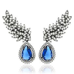 Brinco Ear Cuff Semijoia em Ródio Negro com Zircônia Branca e Gota Cristal  Azul Safira 3d88ab058d