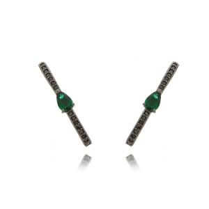 Brinco Ear Hook da Moda com Zircônias Esmeralda Gota e Preta Semijoia em Ródio Negro