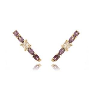 Brinco Ear Hook Dourado Ametista com Zircônia Quadrada Branca Semijoia Luxuosa Ouro 18K