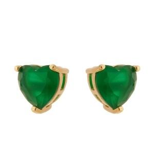 Brinco Esmeralda Dourado Coração Semijoia em Ouro 18K