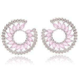 Brinco Espiral Luxury Semijoia em Ródio Branco com Zircônia Quartzo Rosa