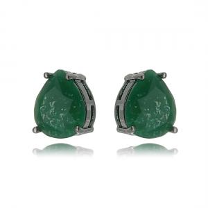 Brinco Fusion Verde Esmeralda Gota 10 x 12 mm Semijoia Fina em Ródio Negro