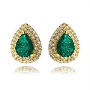 Brinco Gota Fusion Esmeralda com 2 Molduras de Zircônia Cristal Semijoia Ouro