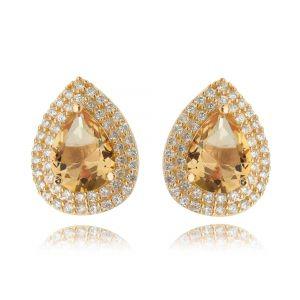 Brinco Gota Morganita Ouro Rosé Semijoia Luxo com Zircônia Cristal