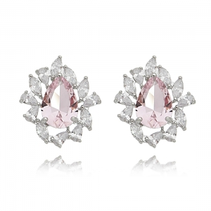Brinco Gota Rosa e Zircônia Branca Luxo Semijoia Ródio Branco