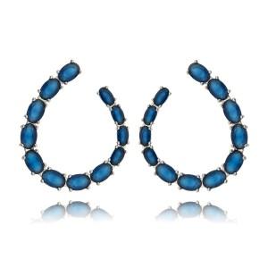 Brinco Moderno Gancho Semijoia em Ródio Branco com Zircônia Azul Safira