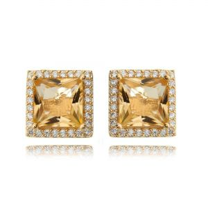 Brinco Morganita com Zircônia Branca Quadrado Semijoia Luxo Ouro Rosé
