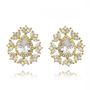Brinco Noiva Dourado Gota Luxo Zircônia Cristal Semijoia Ouro