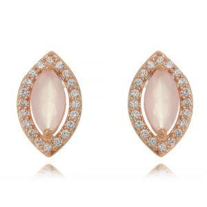 Brinco Ouro Rosé Quartzo Rosa e Zircônia Cristal Semijoia Fina
