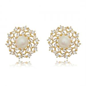 Brinco Pérola e Zircônia Cristal Noiva Semijoia Luxo Ouro