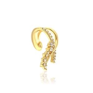 Brinco Piercing Cartilagem Fake Laço Semijoia Ouro 18K com Zircônia Branca