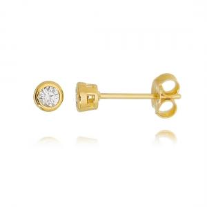 Brinco Ponto de Luz 3 mm Cravação Inglesa Zircônia Cristal Semijoia Ouro