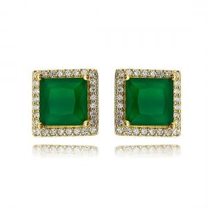 Brinco Quadrado Esmeralda Leitosa Dourado Semijoia Ouro com Zircônia Cristal