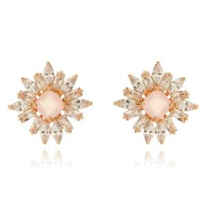 Brinco Quartzo Rosa Quadrado Semijoia em Ouro Rosé 18K com Zircônia Branca Brilhante