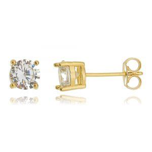 Brinco Solitário 6 mm Dourado Zircônia Cristal Redonda Semijoia Ouro 18K