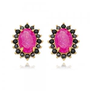 Brinco Soloyou Oval Rosa Pink e Zircônia Preta Semijoia Ouro 18K