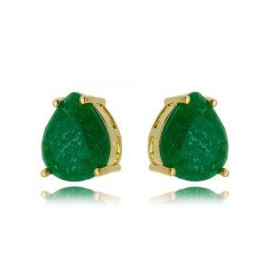 Brinco Verde Esmeralda Fusion Semijoia Ouro Gota 10 x 12 mm