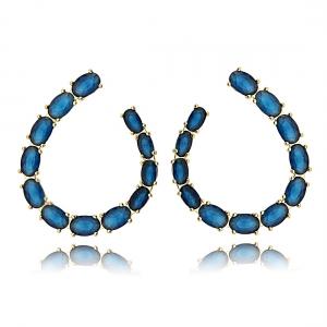 Brinco Zircônia Oval Azul Semijoia em Ouro 18K