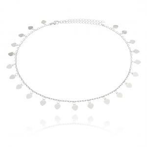 Choker Medalhas Corações Moda em Ródio Branco