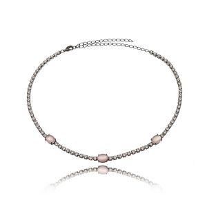 Choker Riviera Delicado Pingente Oval Rosa Leitoso Semijoia Ródio Negro com Zircônia Cristal