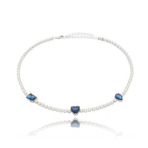Choker Riviera Pingentes Azul Safira Semijoia em Ródio Branco