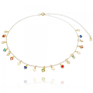 Choker Soloyou Fashion de Corações Coloridos Semijoia Ouro 18K