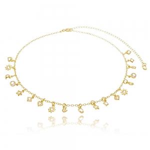Choker Soloyou Fashion Pingentes de Zircônia Branca Semijoia Ouro 18K