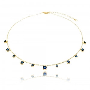 Choker Soloyou Pedras Redondas Azul Safira Semijoia Ouro 18K