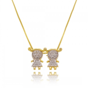Colar 2 Meninas de Zircônia Branca Luxo Semijoia Ouro 18K