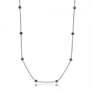 Colar 2 Voltas de Zircônia Verde Esmeralda Redonda Semijoia em Ródio Negro
