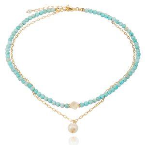 Colar Choker Duplo Semijoia em Ouro 18K com Pedra Natural Ágata Azul Céu, Pérola e Madrepérola