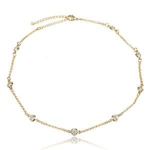 Colar Choker Pontos de Luz Semijoia em Ouro 18K com Zircônia Branca Brilhante Redonda