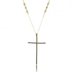 Colar com Crucifixo Zircônia Preta Grande 4 x 7 cm Corrente Tiffy Semijoia Ouro