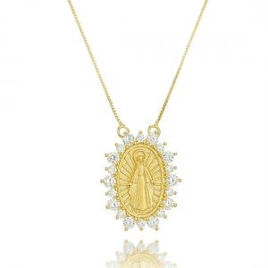 Colar com Medalhinha de Nossa Senhora das Graças Semijoia em Ouro 18K com Zircônia Branca