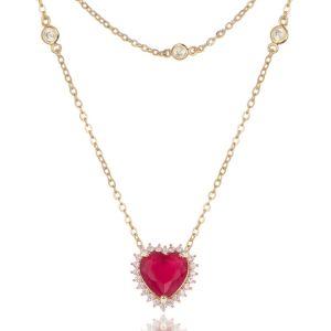 Colar Duplo Coração Luxo de Zircônias Rubi e Branca Semijoia em Ouro 18K