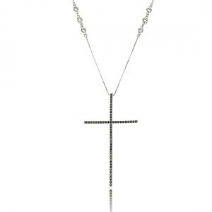 Colar Crucifixo Celebridades Grande 4 x 7 cm Zircônia Preta Corrente Tiffy Semijoia Ródio Branco