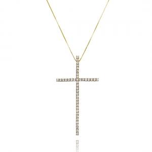 Colar Crucifixo Celebridades Zircônia Branca Grande Semijoia Ouro