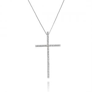 Colar Crucifixo Grande Branco Zircônia Semijoia Ródio Branco