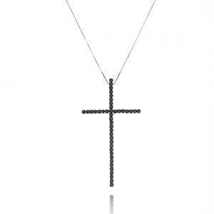 Colar Crucifixo Preto da Moda Zircônia Semijoia Ródio Branco